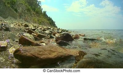 Close-up view of the rocky shore