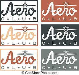 aero club quote on vintage labels set