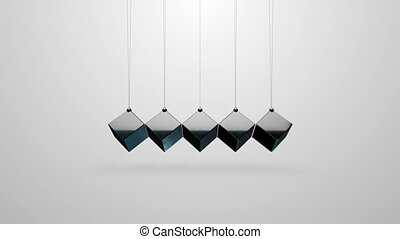 Modified Newton's cradle with cubes