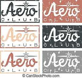 aero club quote on vintage grunge labels set