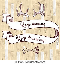 Optimistic poster with ribbon and horns in vintage style