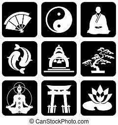 religious buddhism signs - set of vector icons of religious...