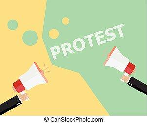 概念, 人群, 人們, 政治, 現代, 抗議, 革命, 設計, 簽署, 危機, 風格, 海報,  Bullhorn, 背景, 藏品, 套間, 符號,  protesters, 插圖, 手, 拳頭, 招貼,  politic, 矢量