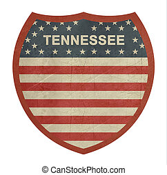 Grunge Tennessee American interstate highway sign