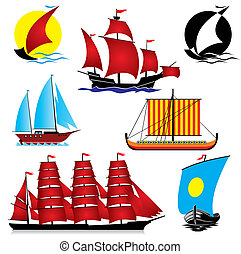 sailing ships - set of vector images of sailing ships