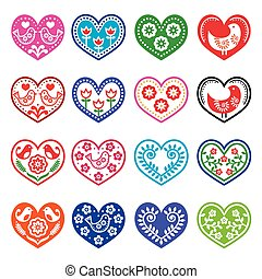 Folk art hearts with flowers, birds - Vector design of...