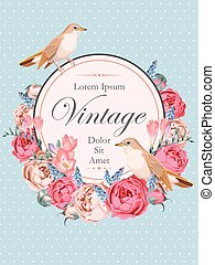 Beautiful vintage vector card with nightingales and peony...