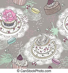 Seamless pattern with cupcakes, tea and macaroons Cute...