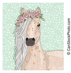 Cute horse with flowers.