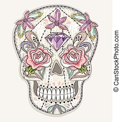 Cute mexican skull. Colorful skull