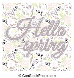 Printable spring wall art with floral pattern and typography...