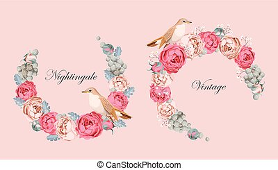 Beautiful vintage vector card with nightingale - Beautiful...
