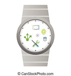 Vector Smart Watch Icons isolated on white