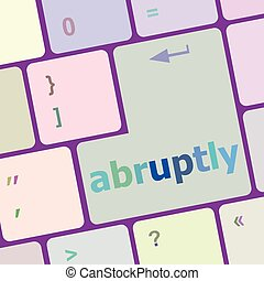 computer keyboard pc with Abruptly text vector illustration