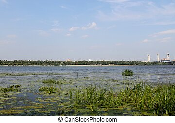 Dnieper river in Kiev - View on the Dnieper river in Kiev,...