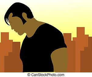 man standing - Illustration of a silhouette of man standing