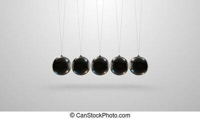 Newton's cradle in slow motion - Loopable video 3840x2160...