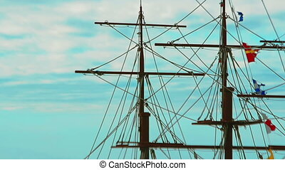 masts, rigging and colorful flags - Video 1920x1080 -...