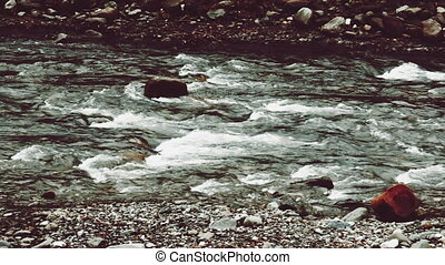 rough mountain river - Video 1920x1080 - Panning view of...
