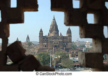 Orchha temple and ruins of old fortress ,India,Madhya...