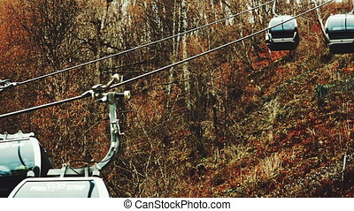 cableway cabins lifts up - SOCHI RUSSIA - CIRCA DEC 2015:...