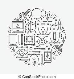 Graphic design round illustration