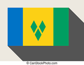Saint Vincent and the Grenadines flag in flat web design...