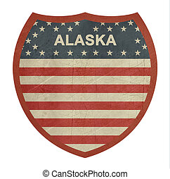 Grunge Alaska American interstate highway sign