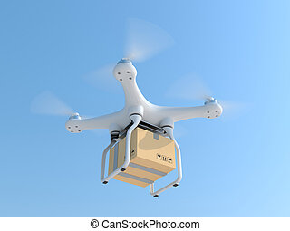 Drone quadcopter carrying mail box for fast air delivery