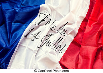 France Flag with french text, Concept National day of 14th...