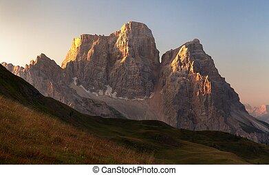 Morning panoramic view of Mount Pelmo, Italian dolomites