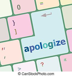 keyboard keys with enter button, apologize word on it vector...