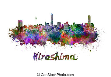 Hiroshima skyline in watercolor splatters with clipping path