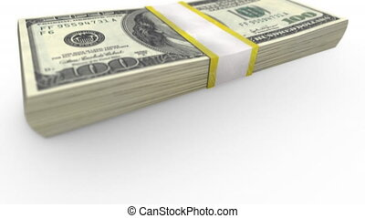 stack of one hundred dollar bills - Video 4096x2304 4K - A...
