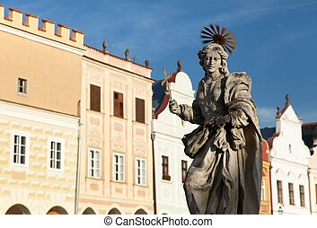 Telc or Teltsch town - statue of st. Margaret - Evening view...