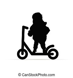 child on scooter illustration silhouette