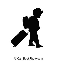 child with travel bag illustration silhouette