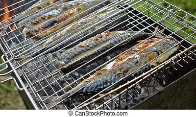 Fish mackerel cooking on the coals - Cooking fish on the...