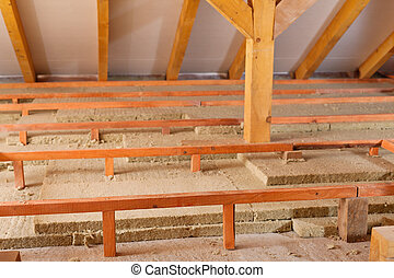 Mineral wool panels used for thermal insulation - under the...