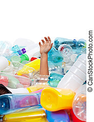 Child hand sticking out from plastic bottles garbage -...