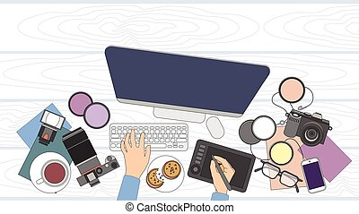 Designer Photographer Workspace Desk With Camera Computer...