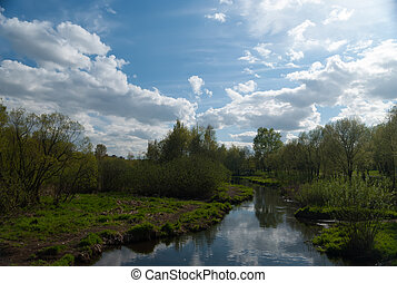 Spring view on the Yauza river in Moscow