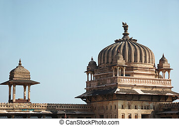 Domes of Raj Mahal palace  at Orcha ,India,Madhya Pradesh