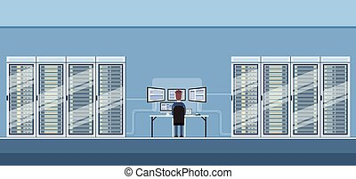 Man Working Data Center Technical Room Hosting Server...