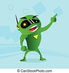 Green Robot In Digital Glasses Point Finger Up Hand Gesture...