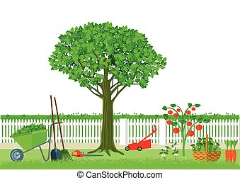 Gartenarbeit Ernten.eps - Gardening and harvesting