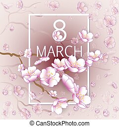 Happy Womens Day Paper Design Vintage Background With Flying...