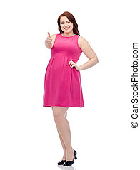 happy young plus size woman showing thumbs up - gesture,...