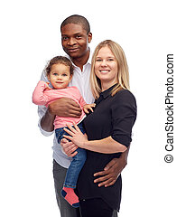 happy multiracial family with little child - family,...