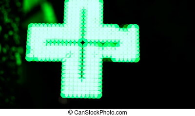 Iluminated Pharmaceutical Cross - Iluminated Green...